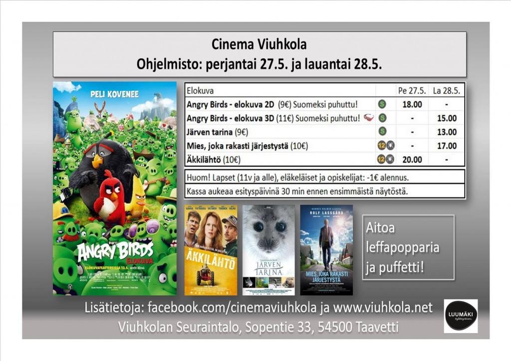 Viuhkolan seuraintalolla esitetään jälleen tänäkin vuonna elokuvia,tällä kertaa mäntsäläläisen Kaj Itämäen/StoryHillin toimesta.Elokuvia esitetään kahtena päivänä pe 27.5. elokuvat Angry Birds 2D(9€) klo 18.00 , Äkkilähtö(10€) klo 20.00 ja la 28.5. elokuvat Järven Tarina(9€) klo 13.00, Angry Birds 3D(11€) klo 15.00 sekä Mies joka rakasti järjestystä(10€) klo 17.00.Lapset(11v ja alle),eläkeläiset ja opiskelijat:-1€ alennus.Suuren suosion saanut uutuuselokuva Angry Birds 3D on ensimmäinen kolmiulotteinen elokuva jota esitetään Viuhkolassa. Väliajoilla on buffetti ja myynnissä on tietenkin pop cornia ja nyt löytyy myös grillattua makkaraa.